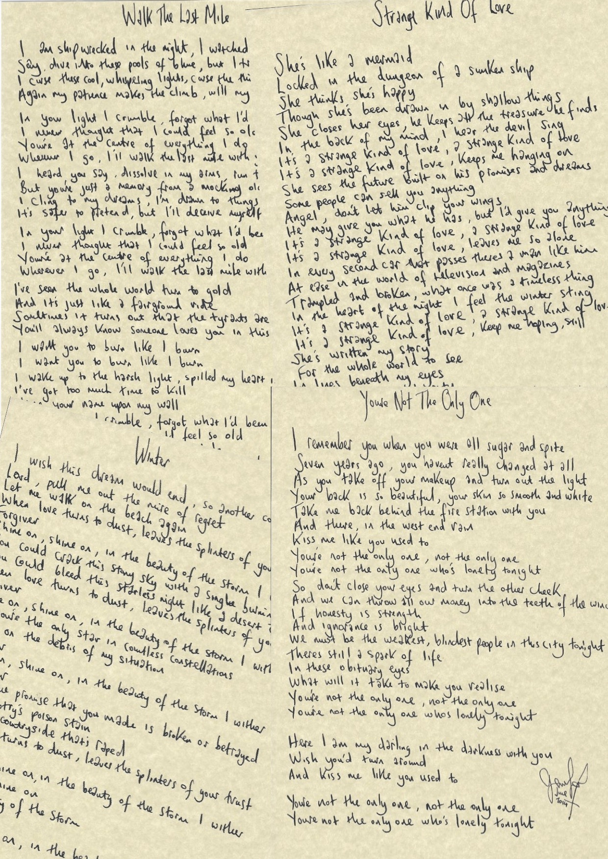 Handwritten Lyrics Copy Copy2